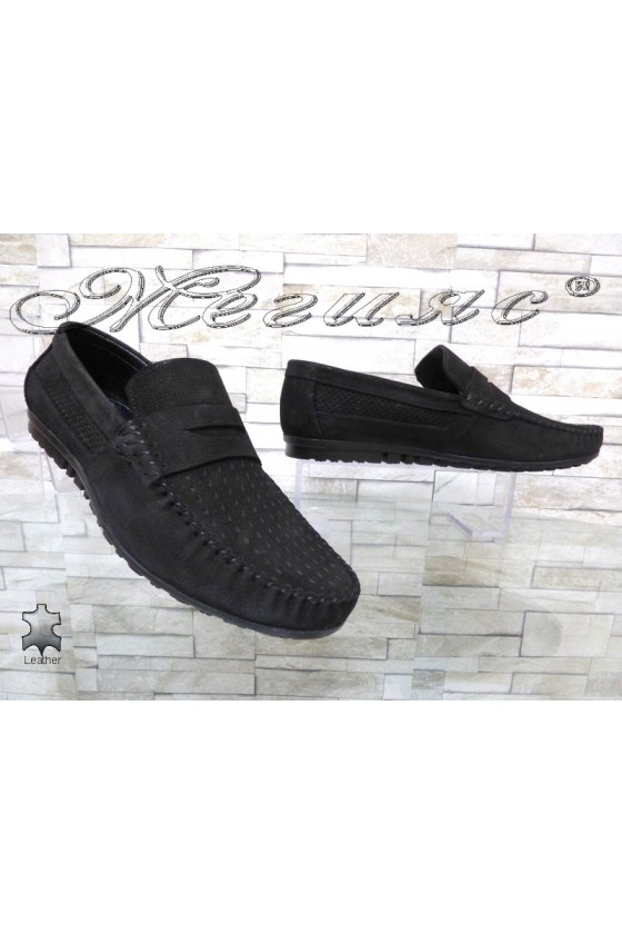 Мъжки обувки Sharp 6103-04 черни от естествен набук тип мокасини