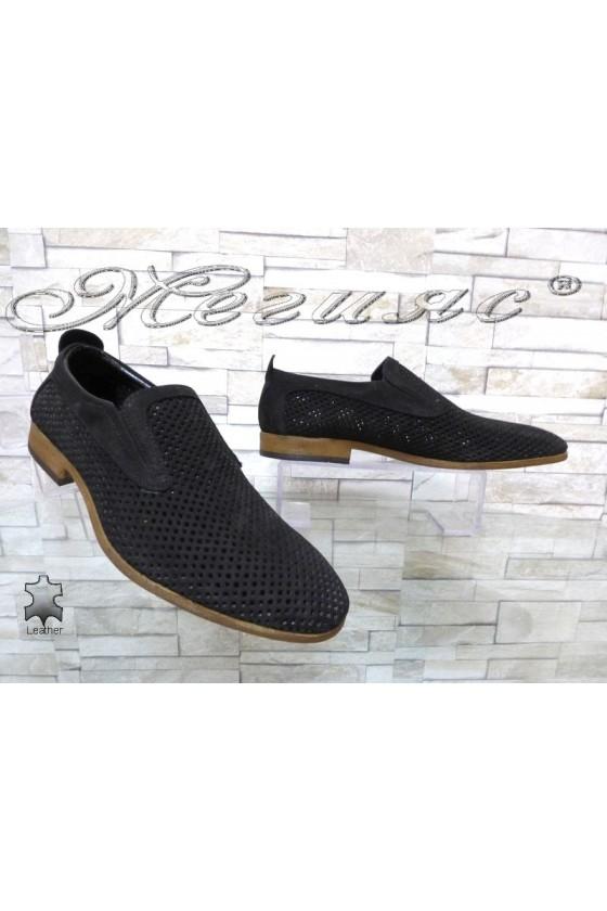 Мъжки обувки Sharp 720 черни от естествен набук с перфорация