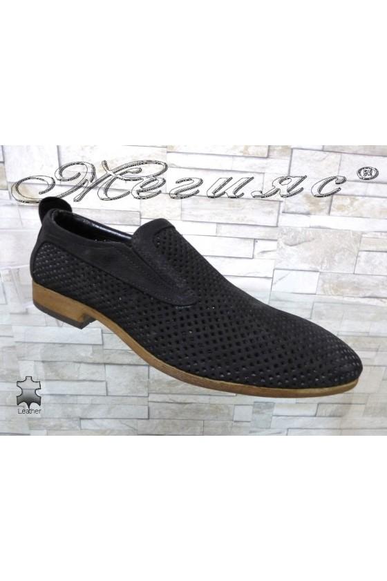 Men's shoes Sharp 720 black suede leather