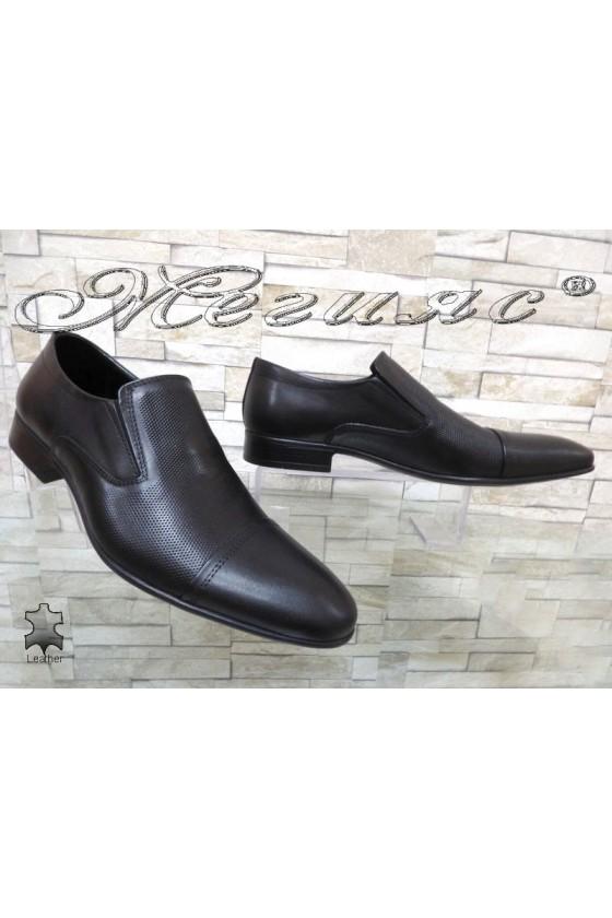 Мъжки елегантни обувки Фантазия 8018 черни от есетствена кожа