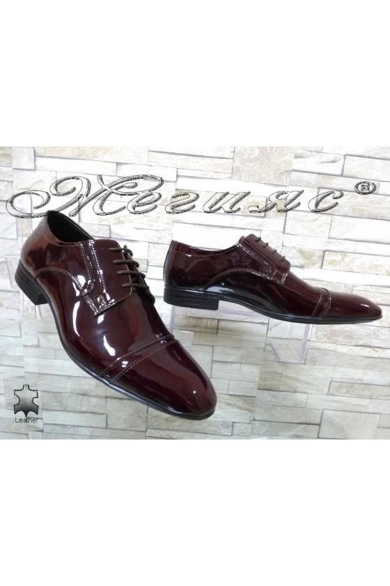 Мъжки обувки  бордо естествен лак