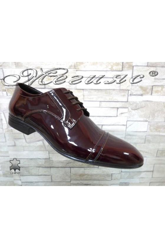 Men's elegant shoes 16009 wine patent