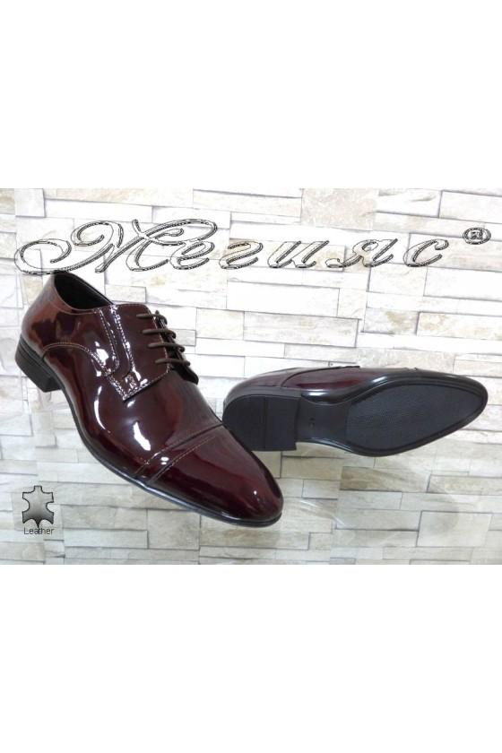 Мъжки обувки бордо естествен лак Фантазия 16009