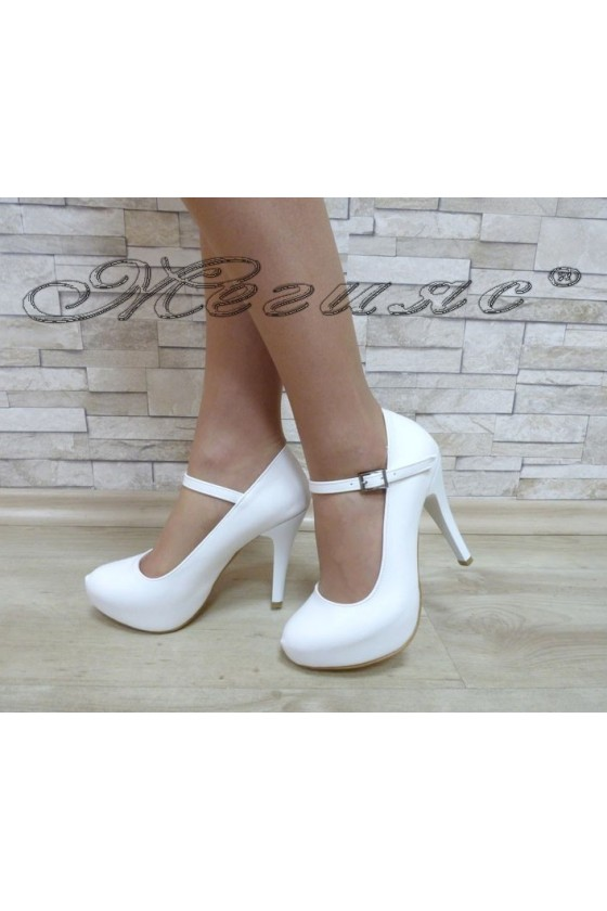 Women elegant shoes 520 white pu with high heel