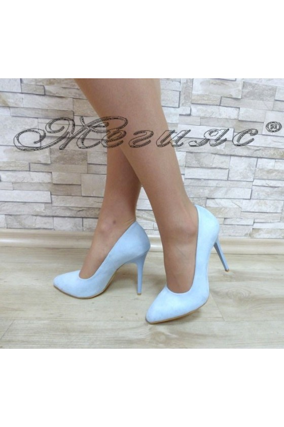 Lady elegant shoes 162 lt.blue suede with high heel