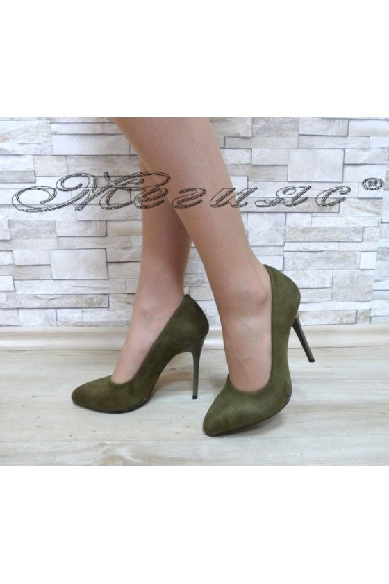 Lady elegant shoes 162 green suede with high heel