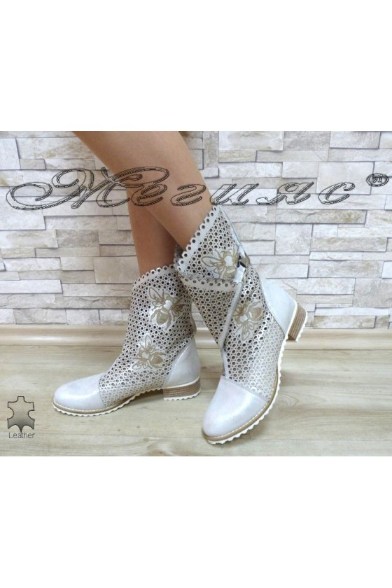 Lady summer boots 101-12 silver leather