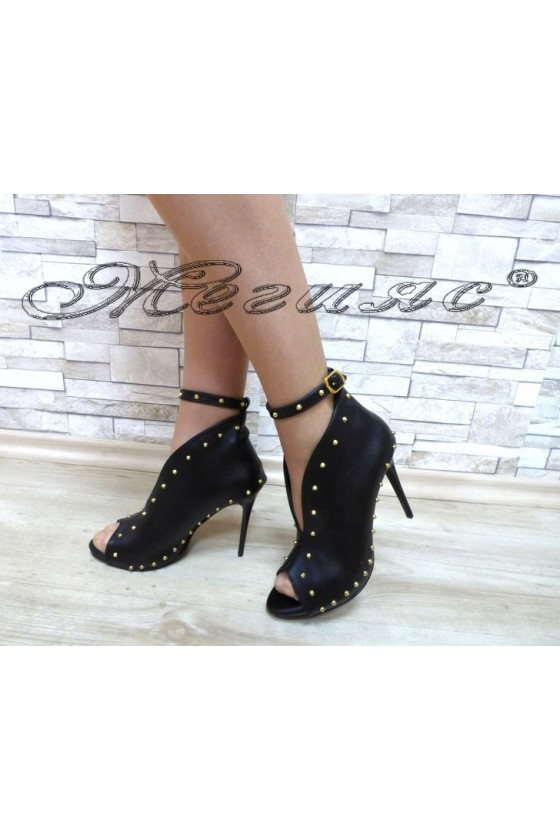 Lady summer boots 4453 black with high heel