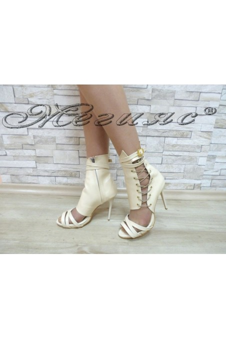 Lady summer boots 4451 beige with high heel