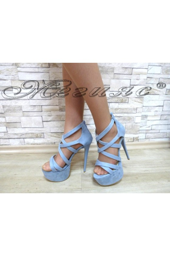Lady sandals 127-22 lt. blue with high heel
