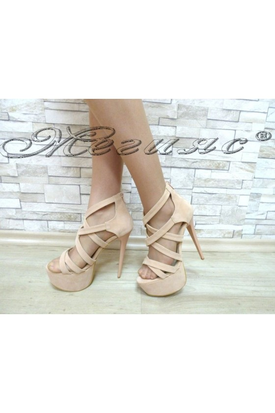 Lady sandals 127-22 pink with high heel