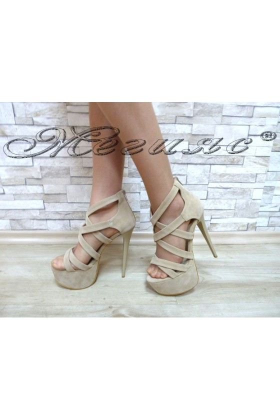 Lady sandals 127-22 beige with high heel