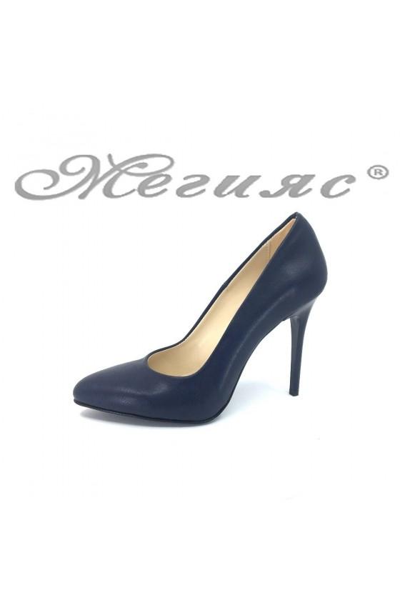 Lady elegant shoes 162 dark blue pu with high heel