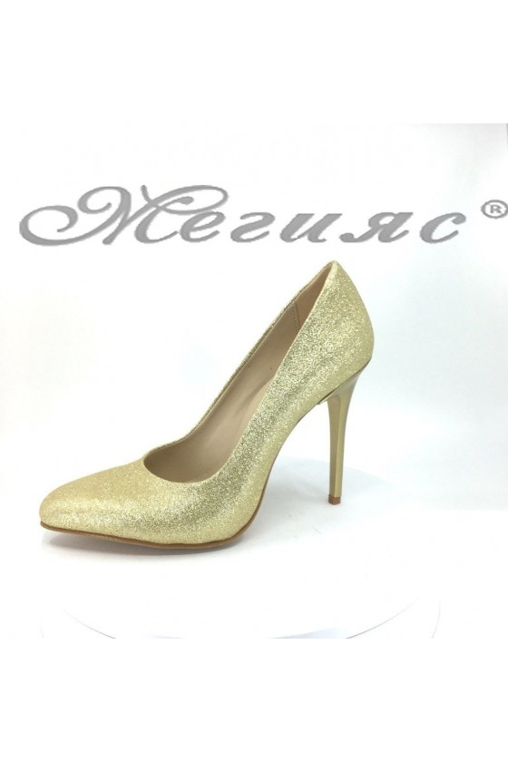 Women elegant shoes 162 gold with high heel