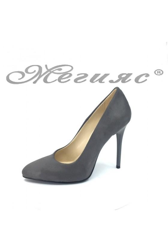 Women elegant shoes 162 grey suede with high heel