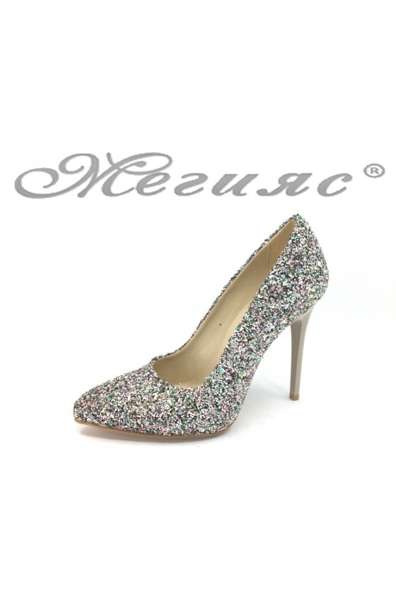 Women elegant shoes 162 silver pu with high heel
