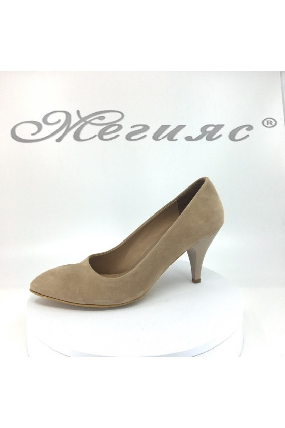 Lady elegant shoes 700 beige suede with middle heel