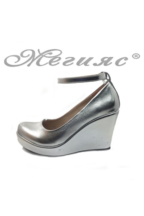 Women platform shoes 0215 silver pu
