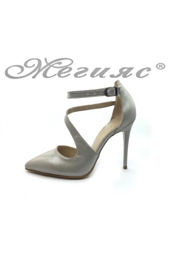 Women elegant shoes 1501 beige pu