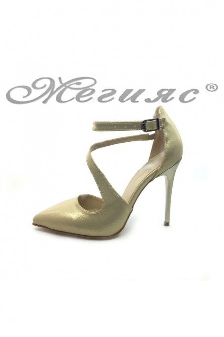 Women elegant shoes 1501 gold pu