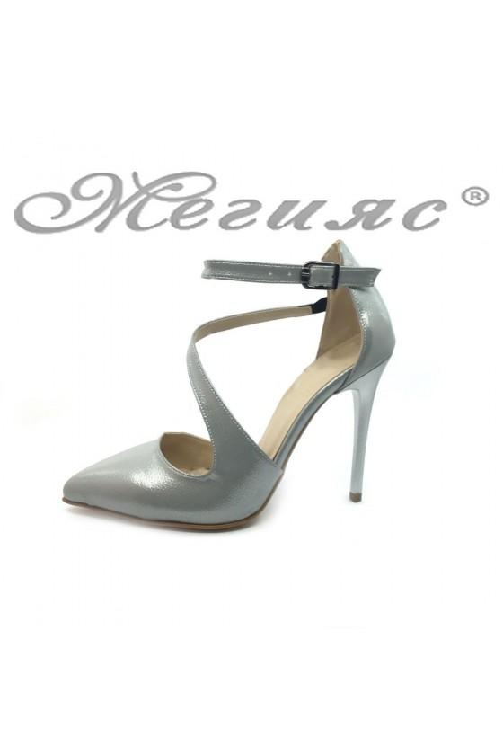 Women elegant shoes 1501 silver pu