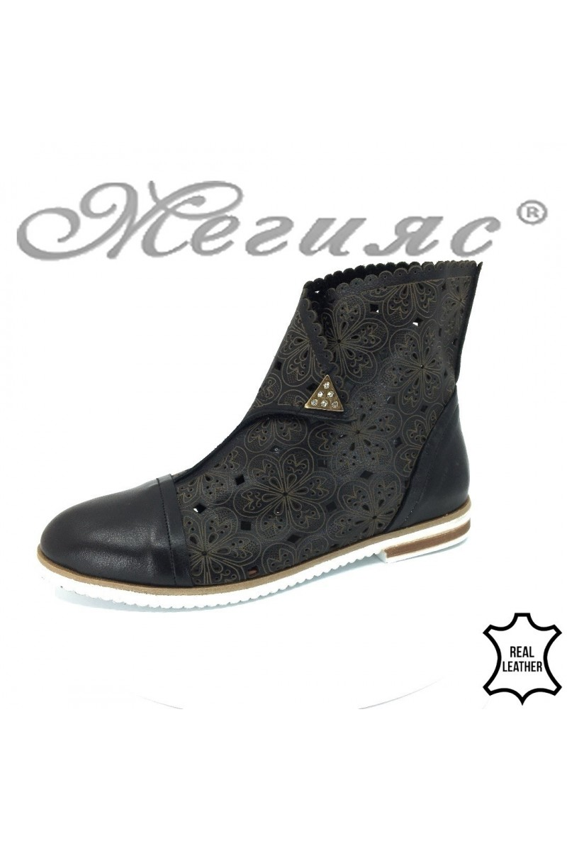 Lady summer boots 008-54 black leather