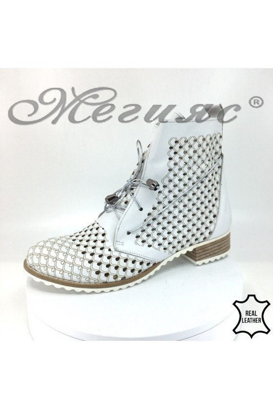 Lady summer boots 107-28 white leather