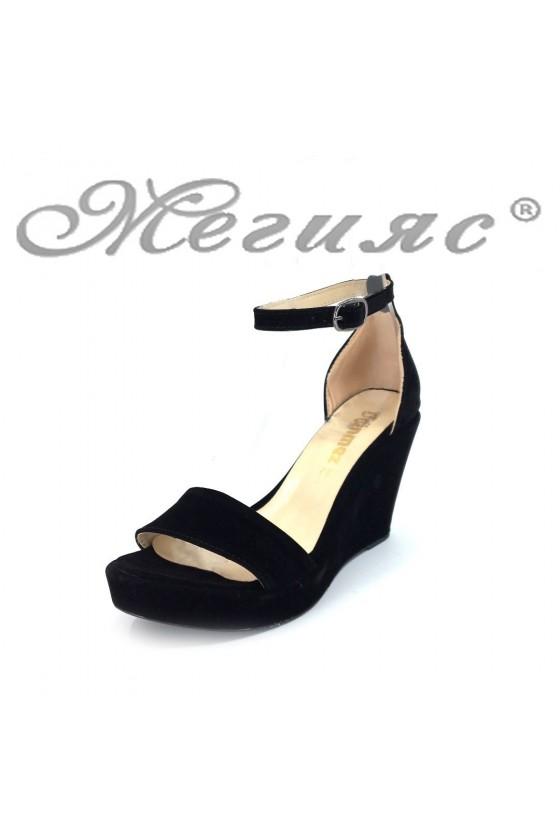 Lady platform sandals 0216 black suede