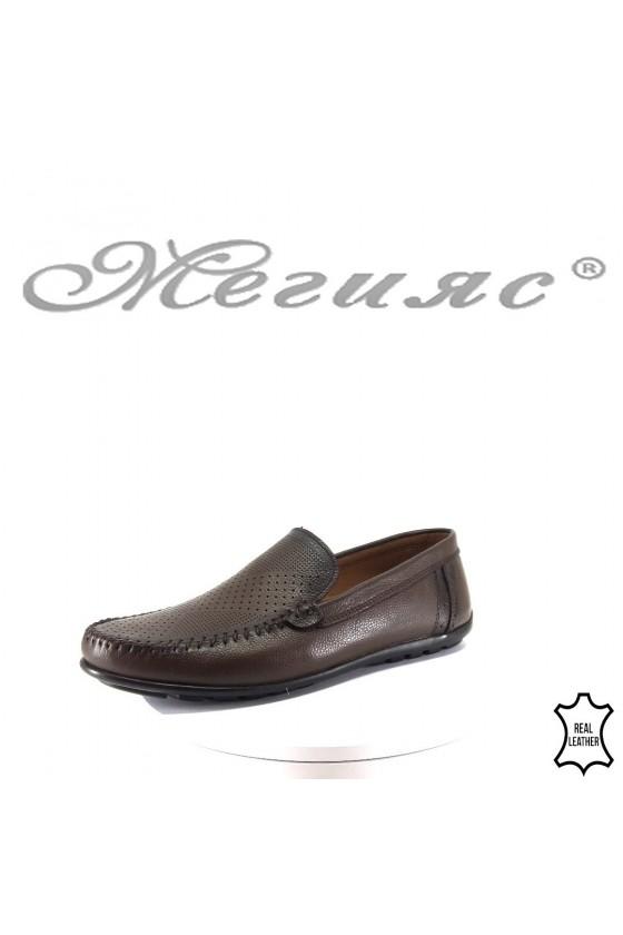 Мъжки обувки 182 кафяви тип мокасини от естествена кожа