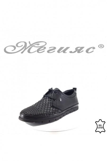Мъжки обувки XXL 11/2-7079 черни от естествена кожа