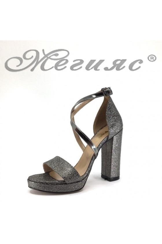 Дамски сандали 393 графит намачкана еко кожа елегантни с широкк ток