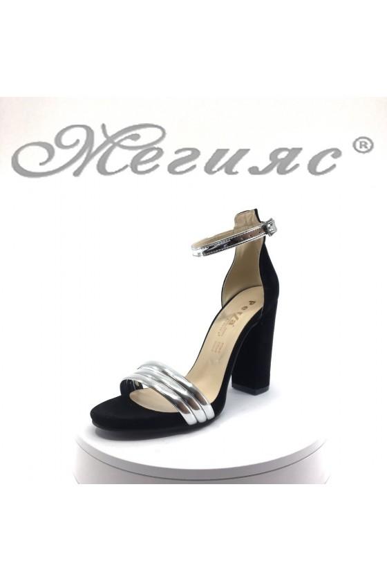 Дамски Women elegant sandals 390 black suede with high heel