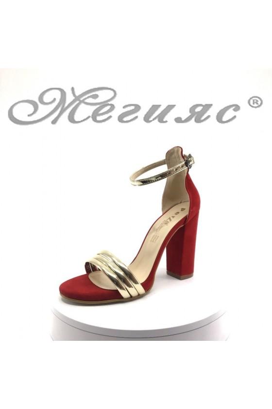 Дамски сандали червено велур със златно елегантни на висок ток 390