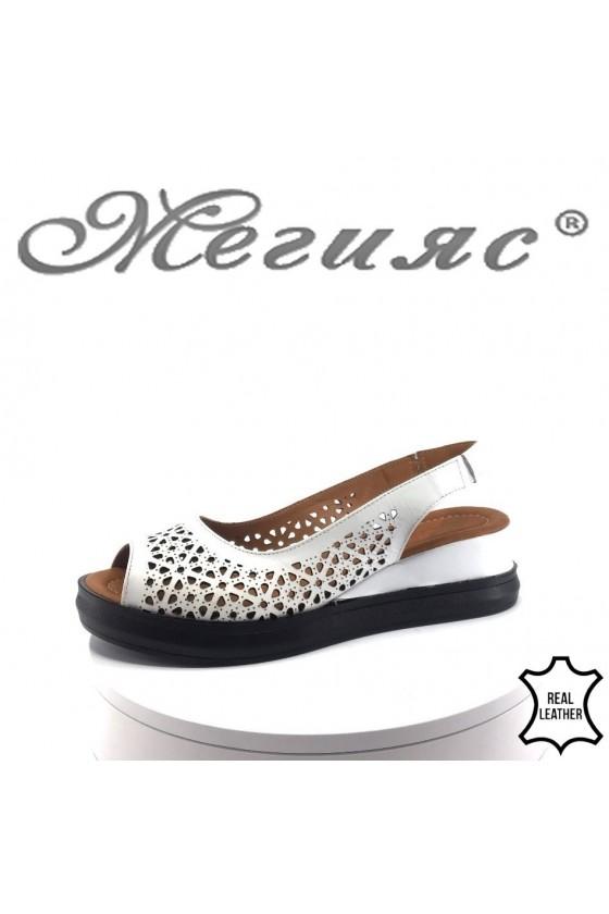 Women platform sandals 471-56 white leather