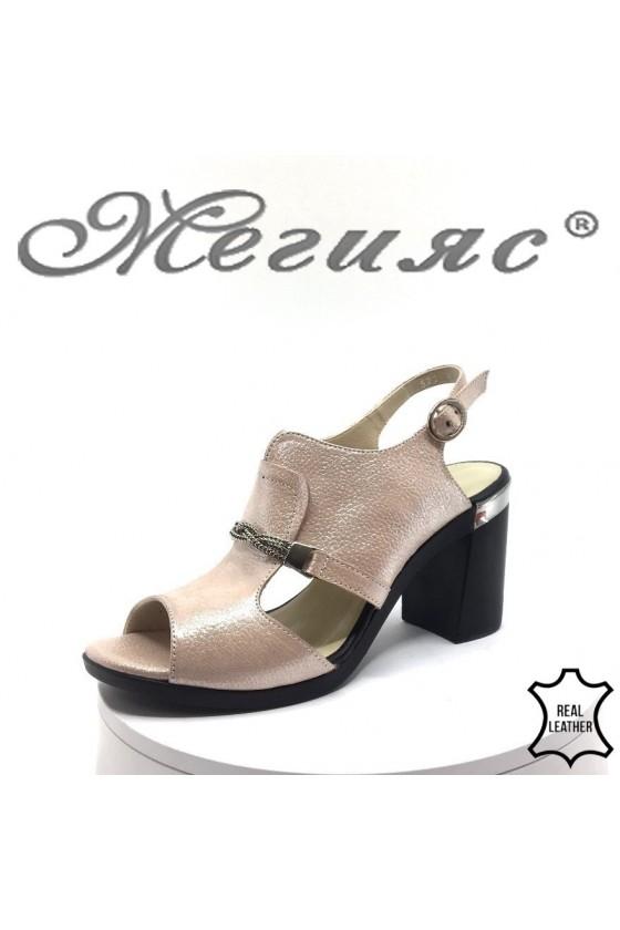 Дамски сандали 522-824 пудра от естествена кожа