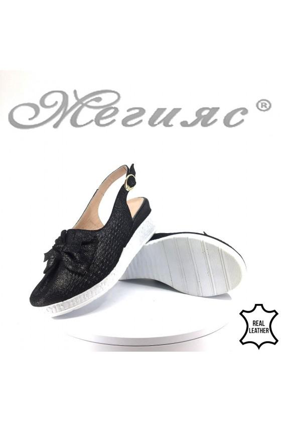 Дамски сандали 910-36 черни от естествена кожа на платформа