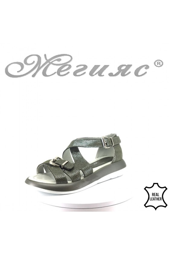 Women sandals 863-59 green leather