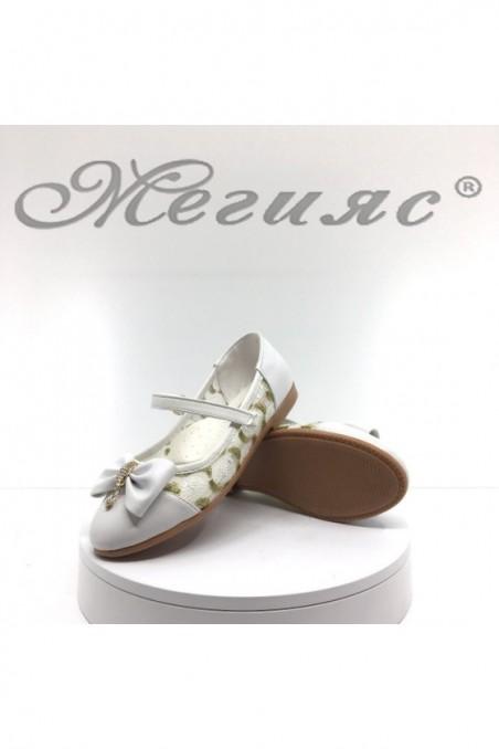 Детски обувки 00221 бели от еко кожа и текстил