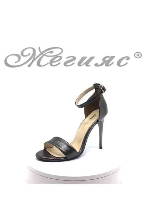 Lady elegant sandals 15103 dk.silver pu with high heel