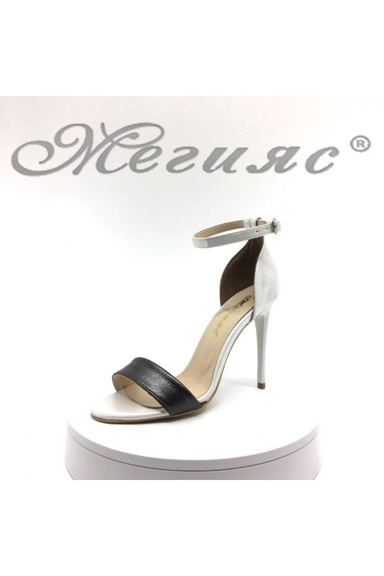 Дамски сандали 15103 сребристи+лента графит елегантни от еко кожа на висок ток
