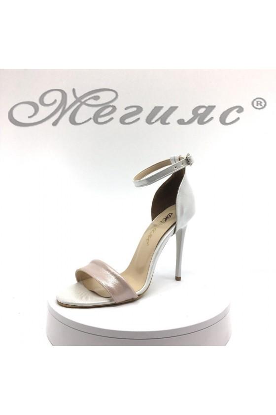 Дамски сандали 15103 сребристи+лента пудра елегантни от еко кожа на висок ток