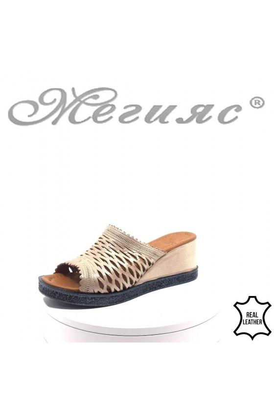 Women platform sandals 212-13 nude leather