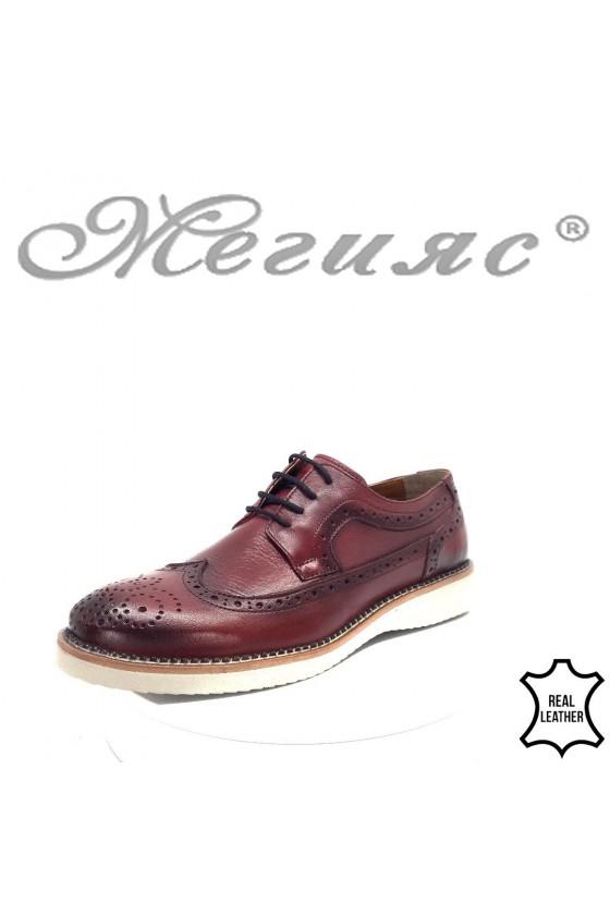 Мъжки обувки 117-300 бордо от естествена кожа тип Оксфорд