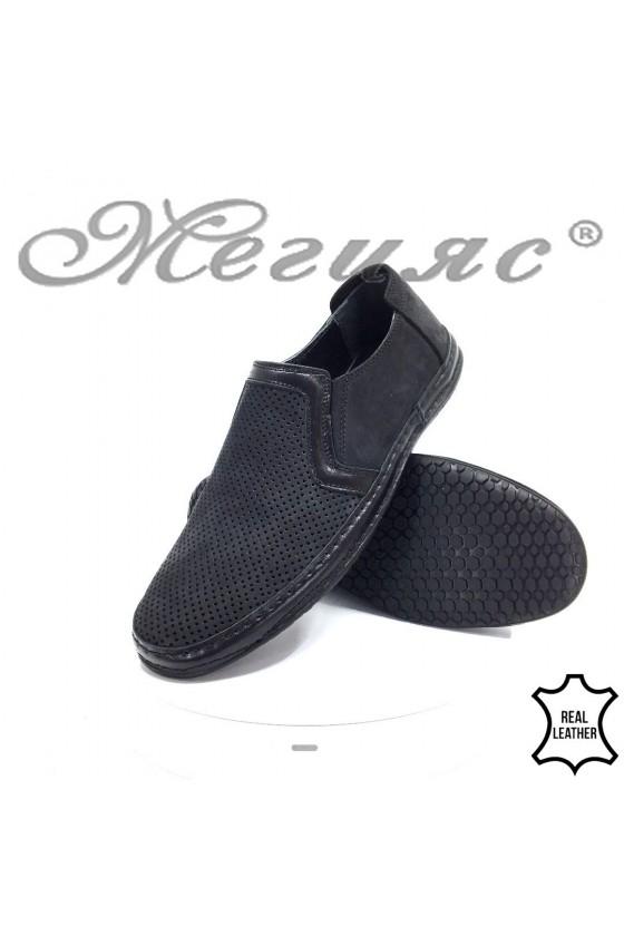 Мъжки ежедневни обувки 38 черни естествен набук с кожа