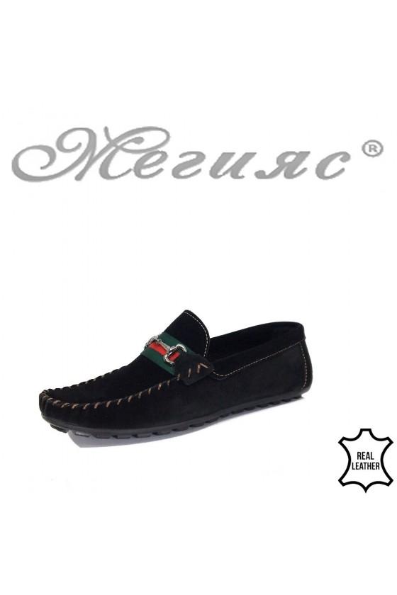 Мъжки обувки 03 черни от естествен набук тип мокасини