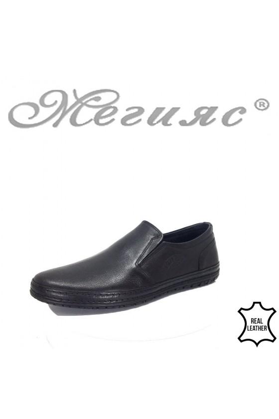 Мъжки ежедневни обувки 809-14 черни естествена кожа
