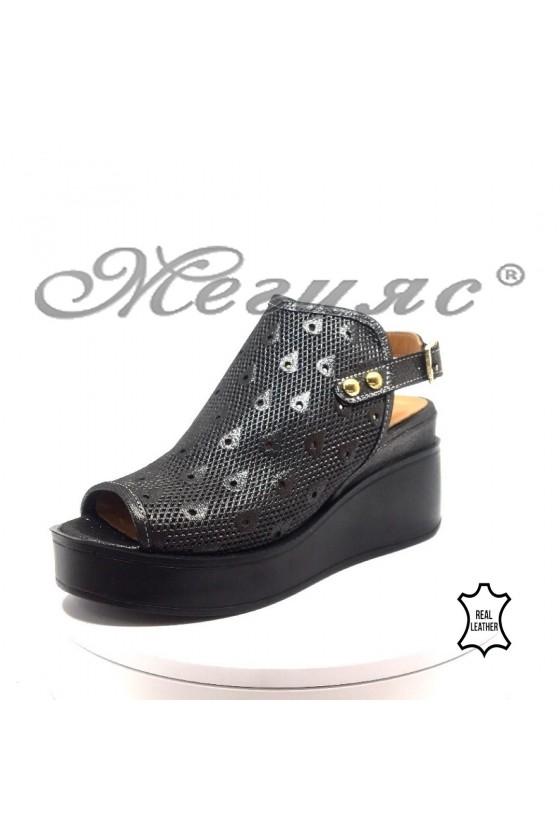 Women platform sandals 871-36 dk.silver leather