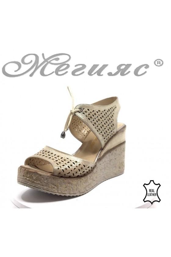 Lady platform sandals 715-254 beige leather