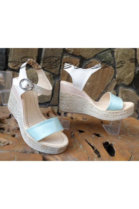 Дамски сандали 100-2723 пудра+бяло+зелено от еко кожа на платформа