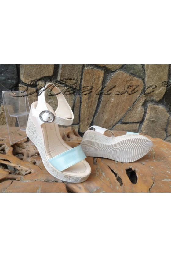 Women  sandals 100-2723 nude+white+blue pu